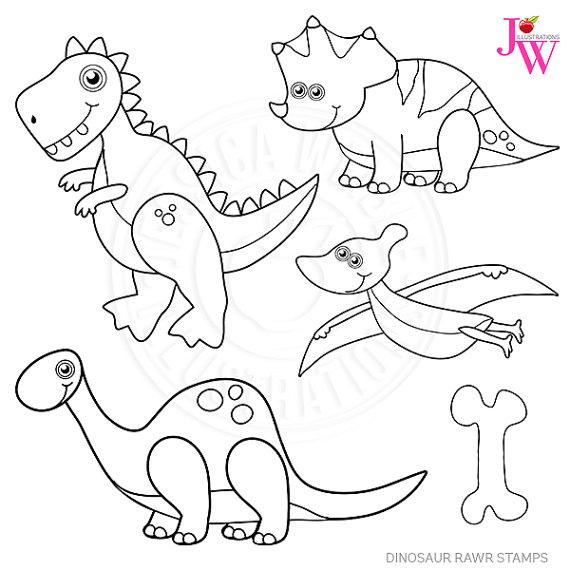 570x570 Dinosaur Rawr Stamps, Dinosaur Black And White Line Art, Digital