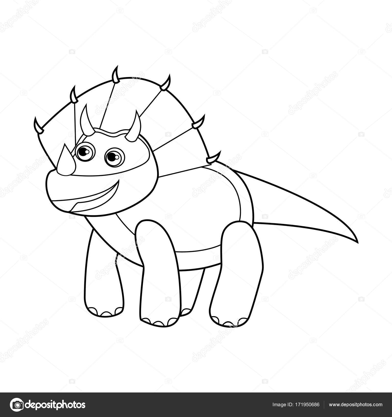 1600x1700 Dinosaur Outline Cute Smiling Stock Photo