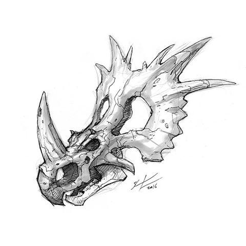 480x480 Dinosaur Skeleton Ink Dinosaur Skeleton Inked Drawing. Dinosaur