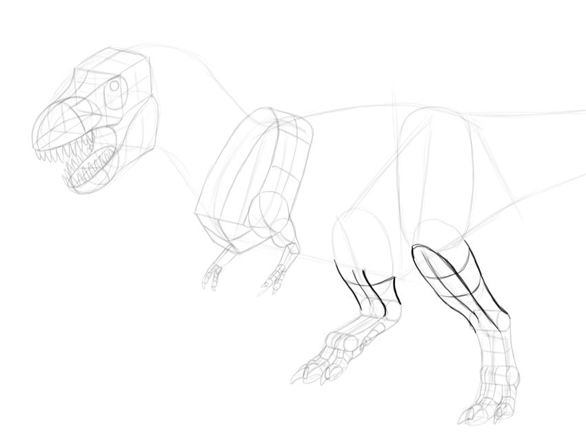 850x650 How To Draw A T Rex Dinosaur