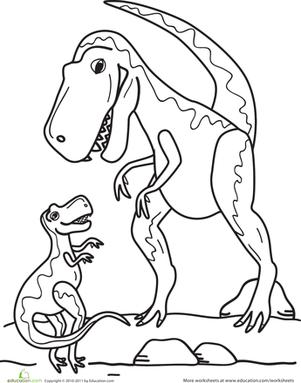 301x383 Color The Dinosaur Tyrannosaurus Rex Worksheet