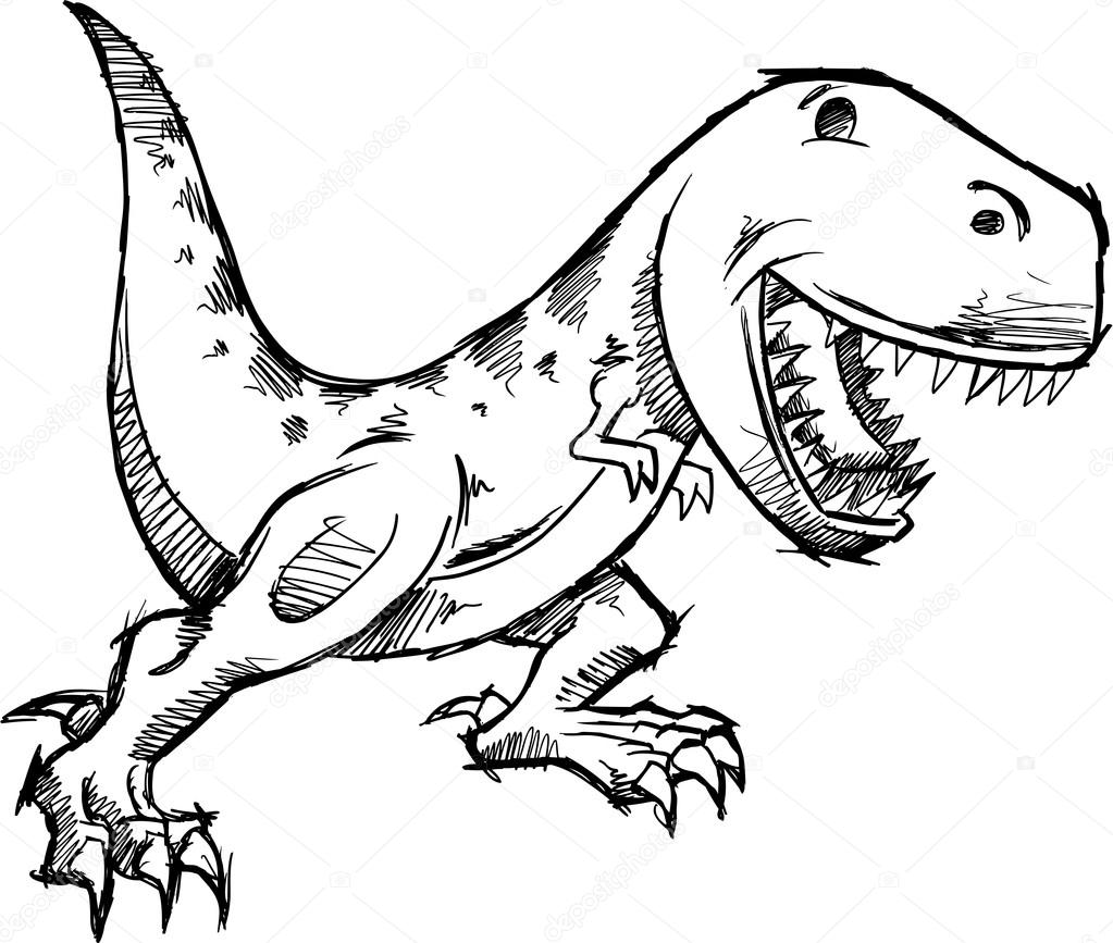 1023x867 Tyrannosaurus Rex Dinosaur Doodle Sketch Vector Stock Vector