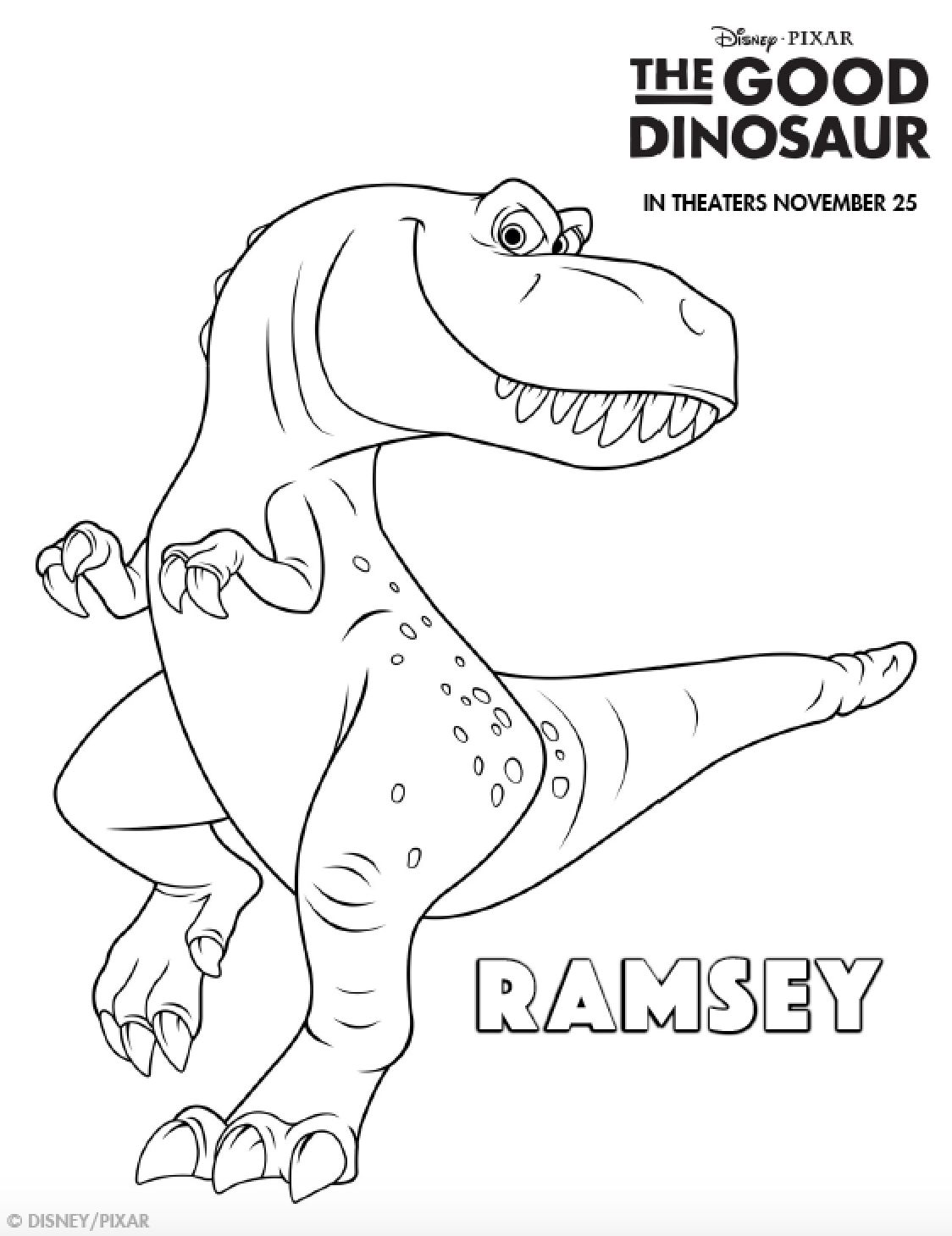 1124x1459 The Good Dinosaur Coloring Pages Preschool For Print Draw
