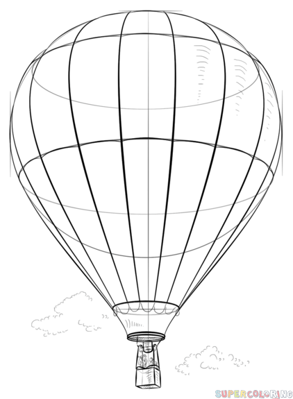 422x575 Air Balloon Drawing How To Draw A Hot Air Balloon Step Step