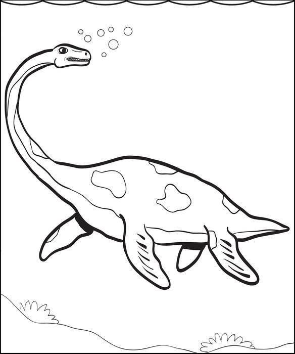 584x700 Free Printable Plesiosaur Dinosaur Coloring Page For Kids