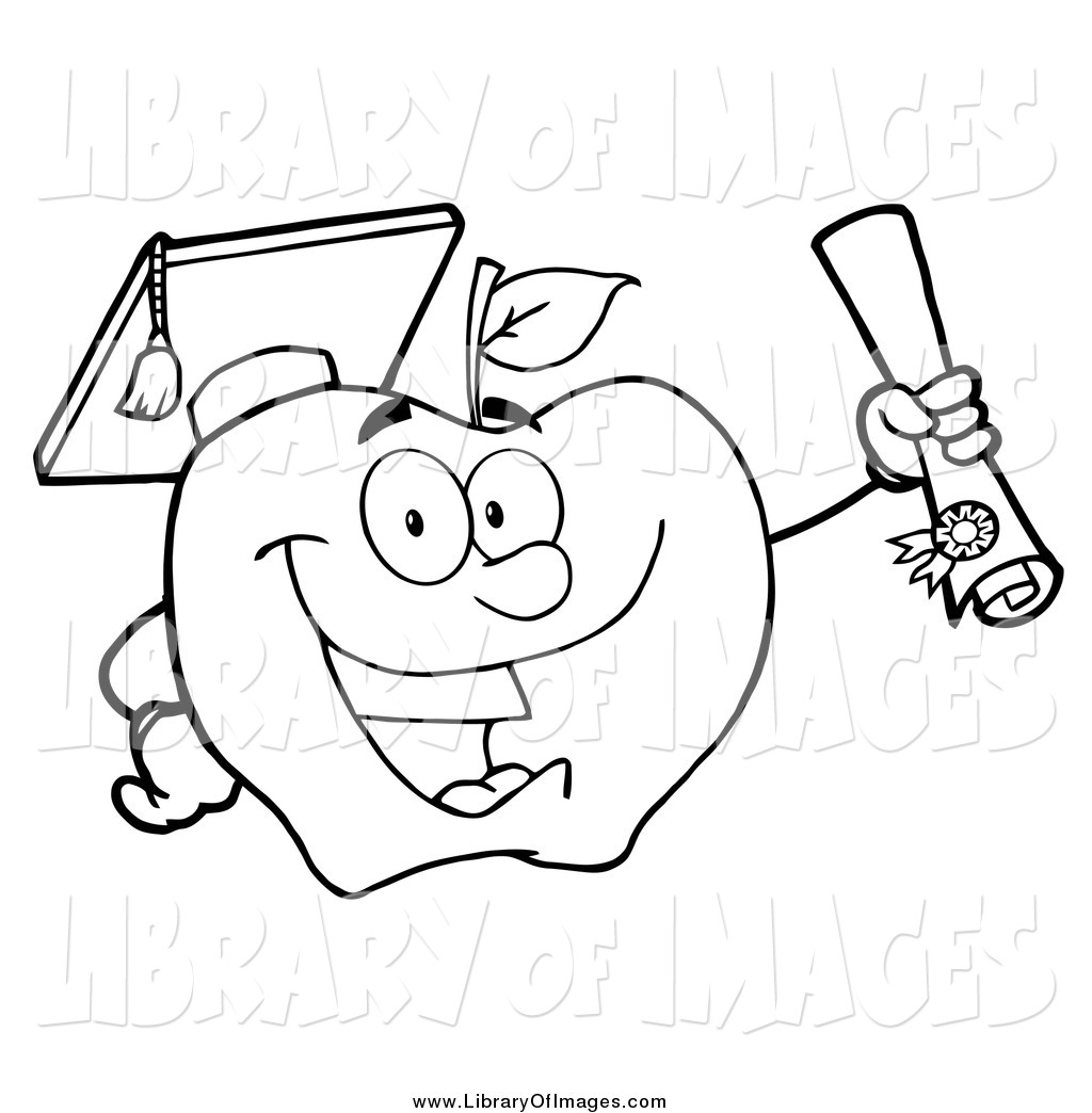 1024x1044 Clip Art Of A Black And White Student Apple Holding A Diploma By