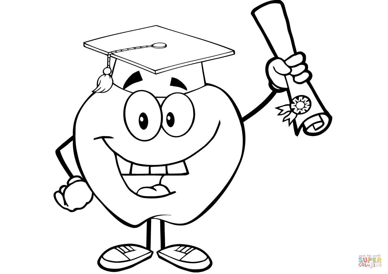 1300x919 Happy Apple Graduate Holding A Diploma Coloring Page Free