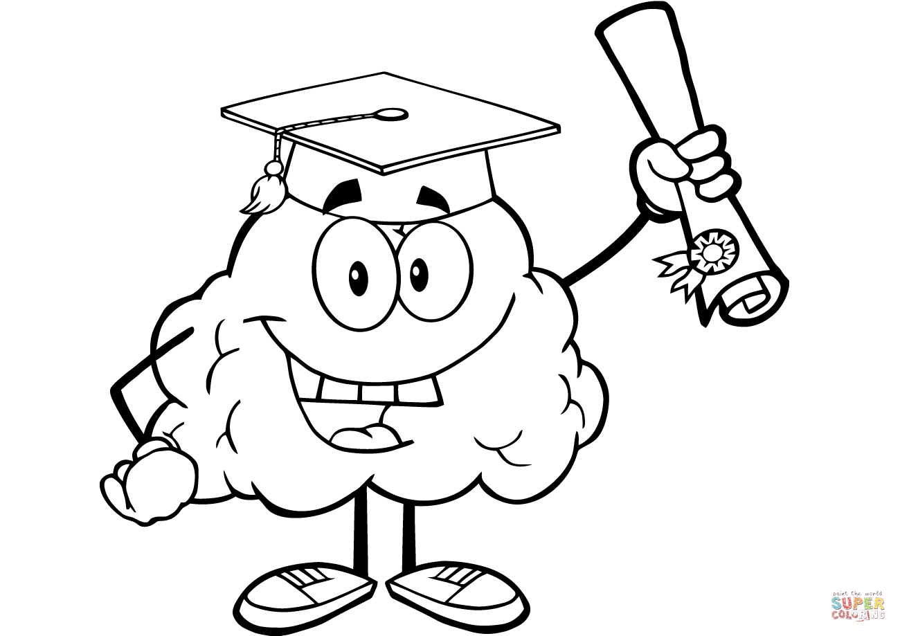 1300x919 Happy Brain Character Graduate With Diploma Coloring Page Free