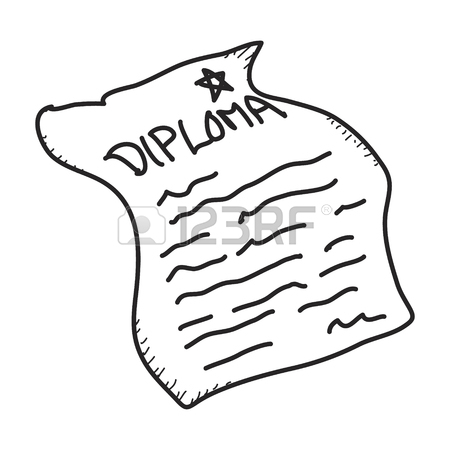 450x450 Simple Doodle Of A Hand Drawn Diploma Royalty Free Cliparts
