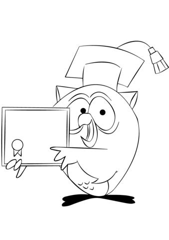 339x480 Cartoon Owl Holding Diploma Coloring Page Free Printable