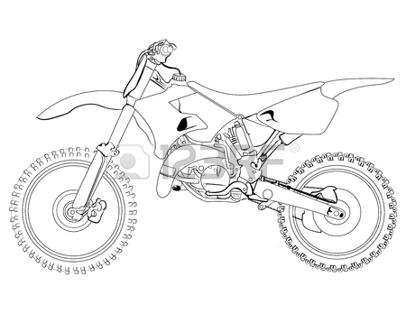 450x358 Dirt Bike Sketch On A White Background, Isolated, Sketch, Drawing