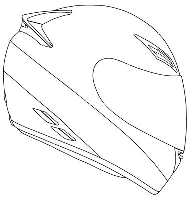 380x400 Motorcycle Helmet Outline