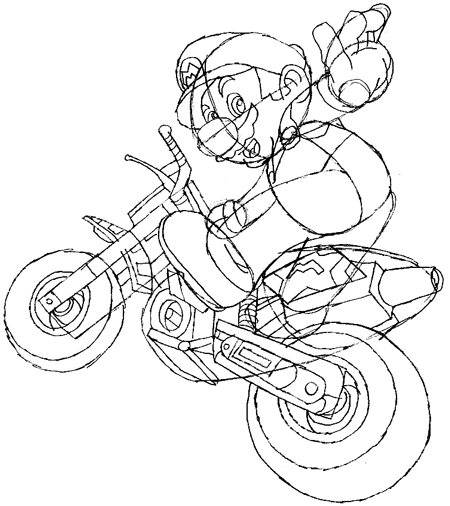 450x506 How To Draw Mario Riding A Bike From Mario Kart Wii Drawing