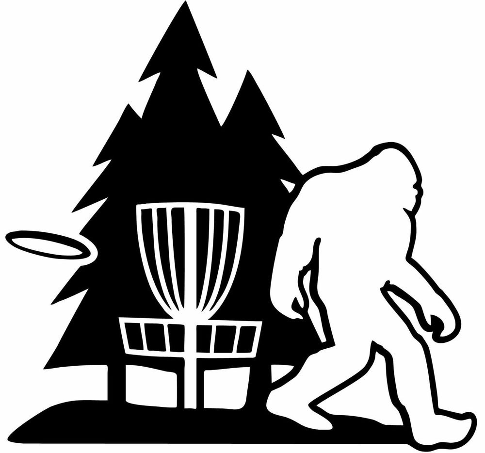 1000x934 Sasquatch Bigfoot Disc Golf Vinyl Decal Sticker W Trees
