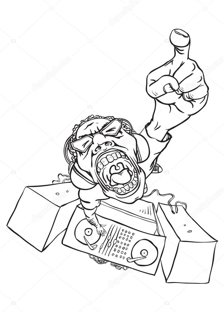 737x1024 Shouting Bizarre Disc Jockey Playing Electro Music Stock Vector