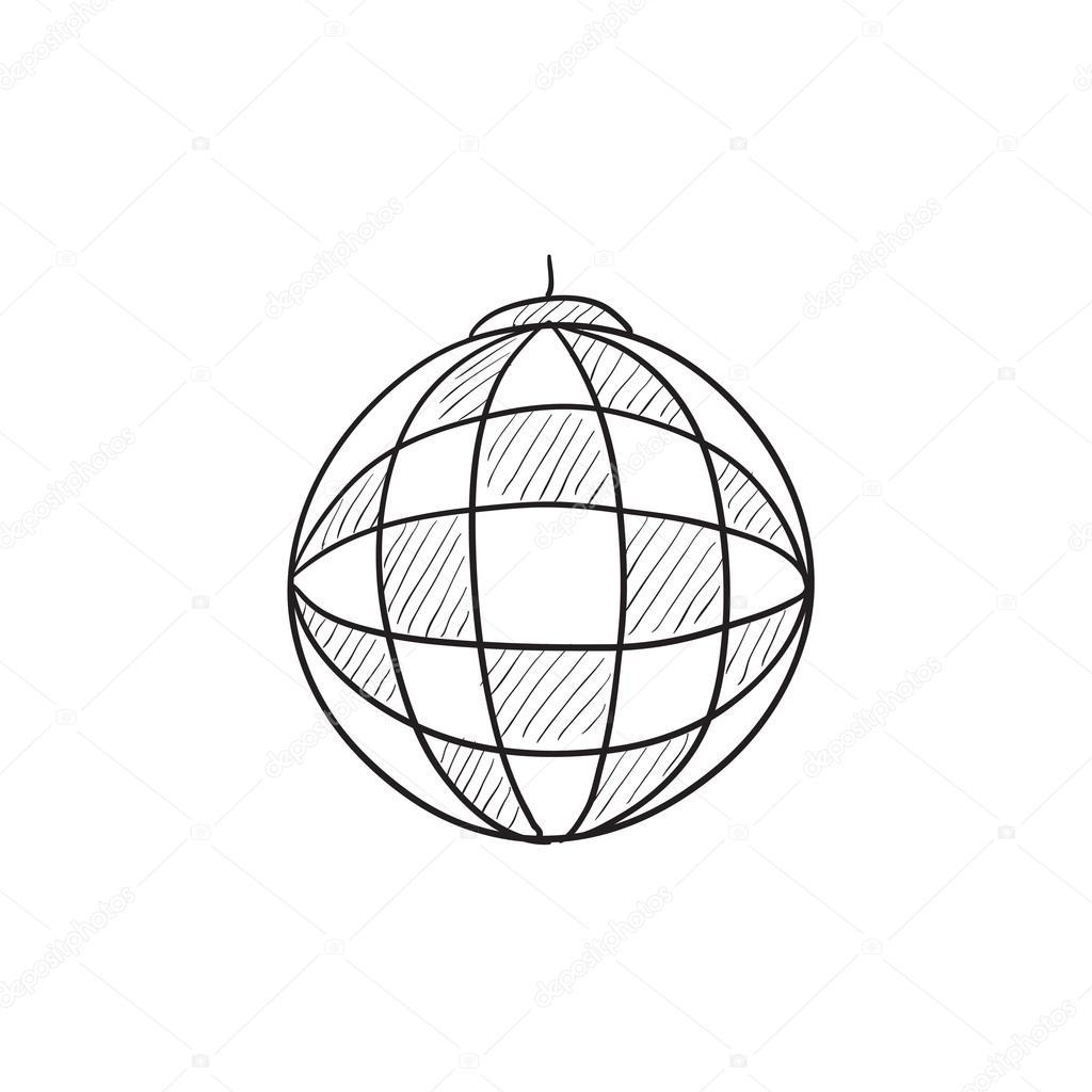 1024x1024 Disco Ball Sketch Icon. Stock Vector Rastudio