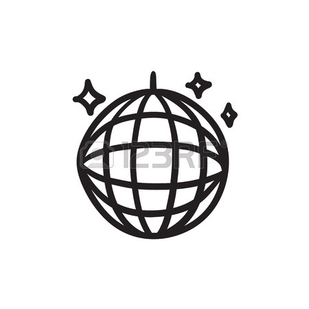 450x450 Disco Ball Vector Sketch Icon Isolated On Background. Hand Drawn