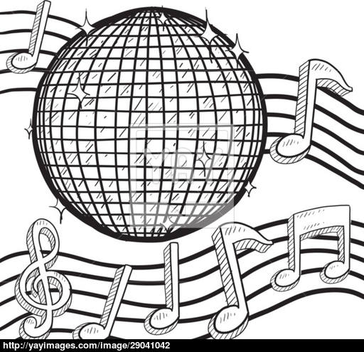 512x495 Disco Ball With Music Notes Background Vector Vector