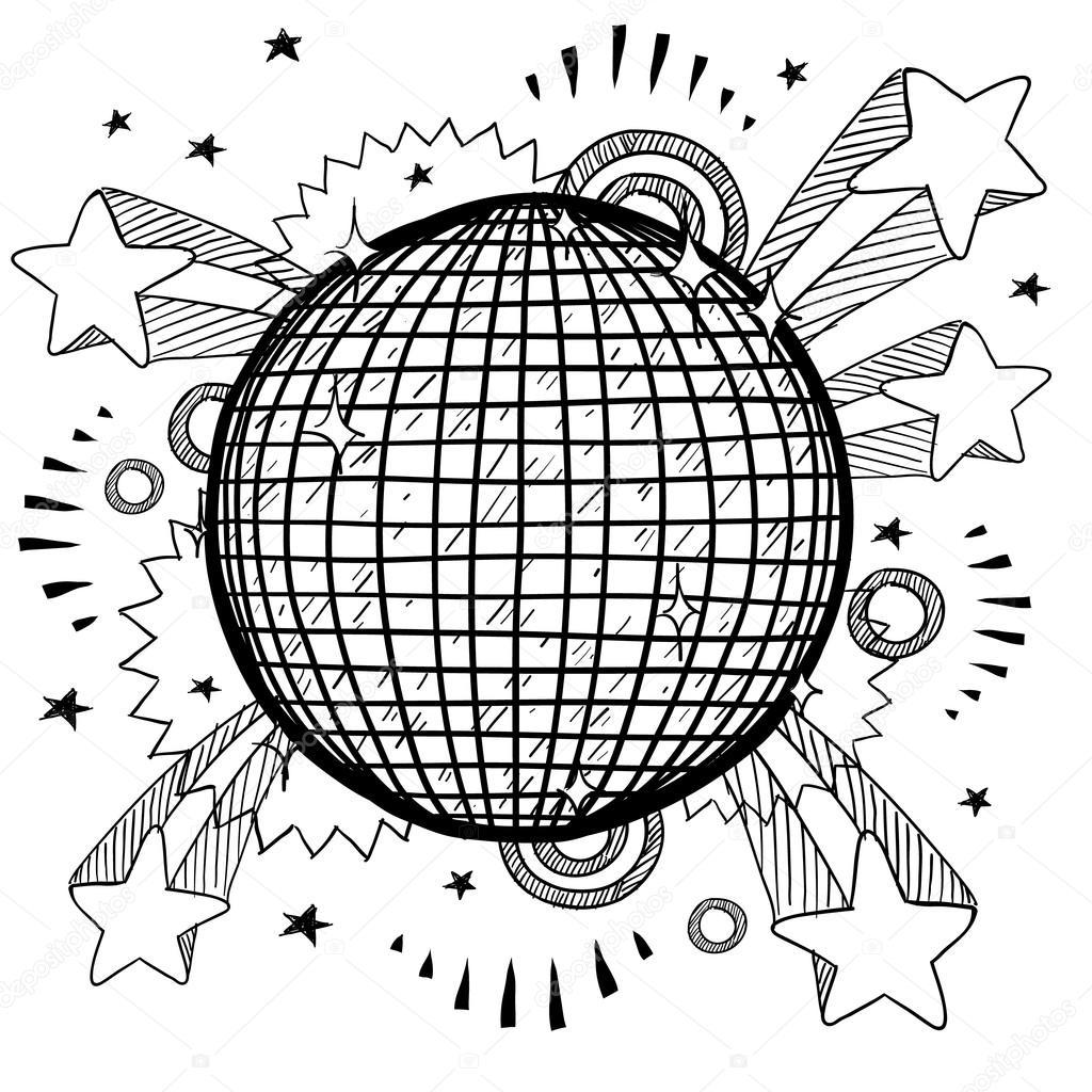 1024x1024 Nightclub Excitement Disco Ball Sketch Stock Vector