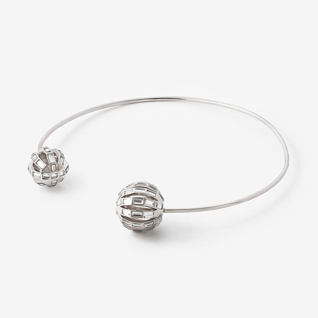 1024x1024 Silver Disco Mirror Ball Choker Necklace By Isharya Jewelry