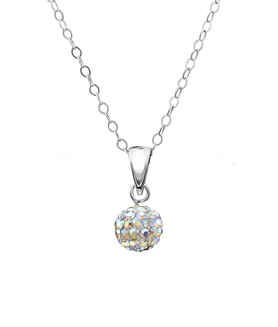 893x1050 Girls Sterling Silver Crystal Disco Ball Pendant