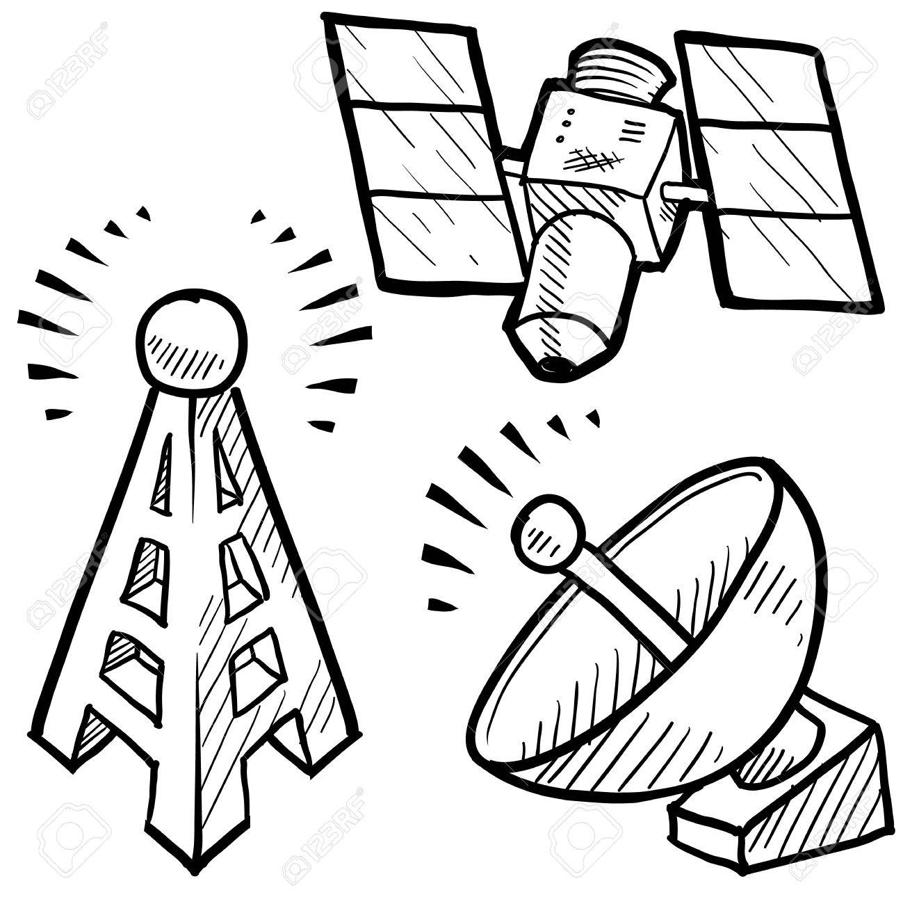 1299x1300 Doodle Style Telecommunications Sketch In Vector Format Set