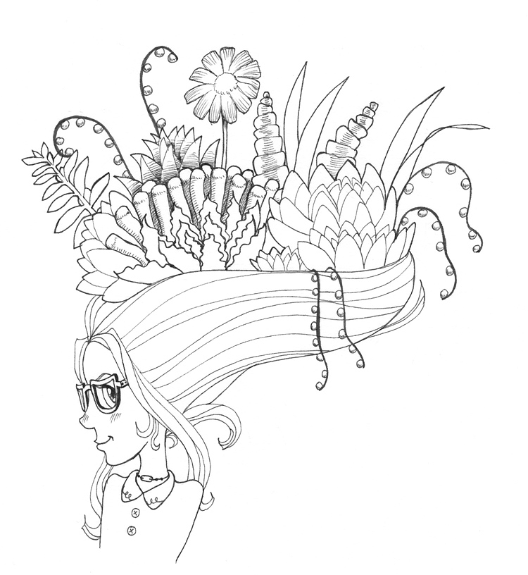 750x816 Drawing Succulents In Her Hair By Tomf00lery