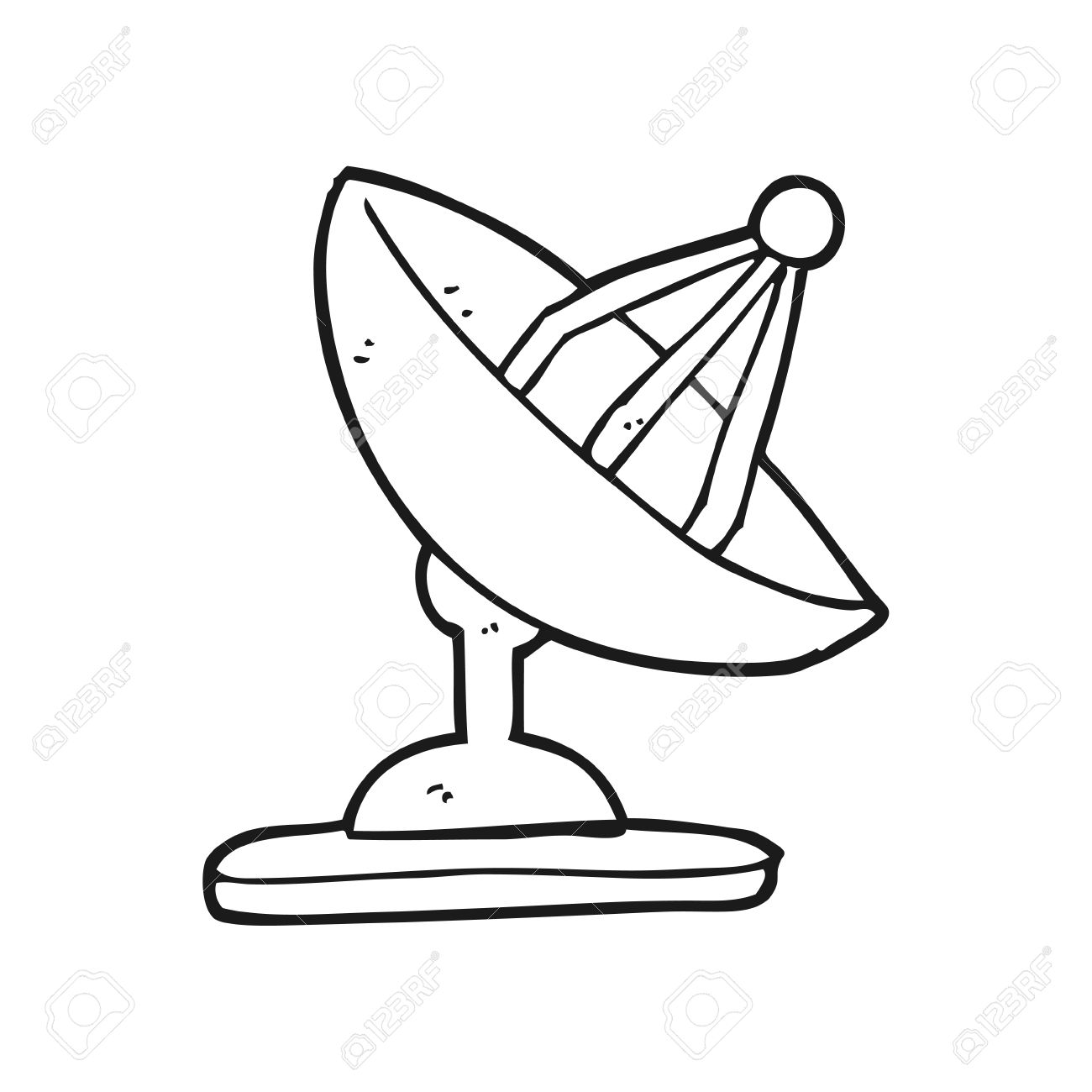 1300x1300 Freehand Drawn Black And White Cartoon Satellite Dish Royalty Free