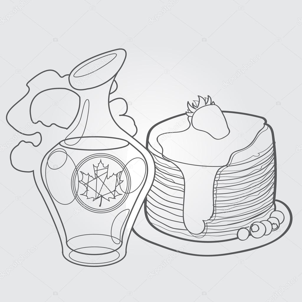 1024x1024 Maple Syrup And Pancakes, Traditional Canadian Dish Outline
