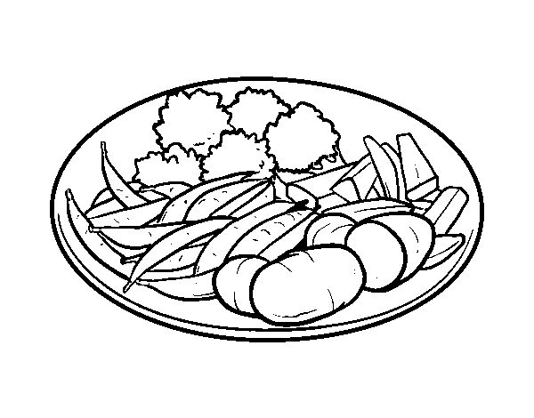 600x470 Vegetable Dish Coloring Page