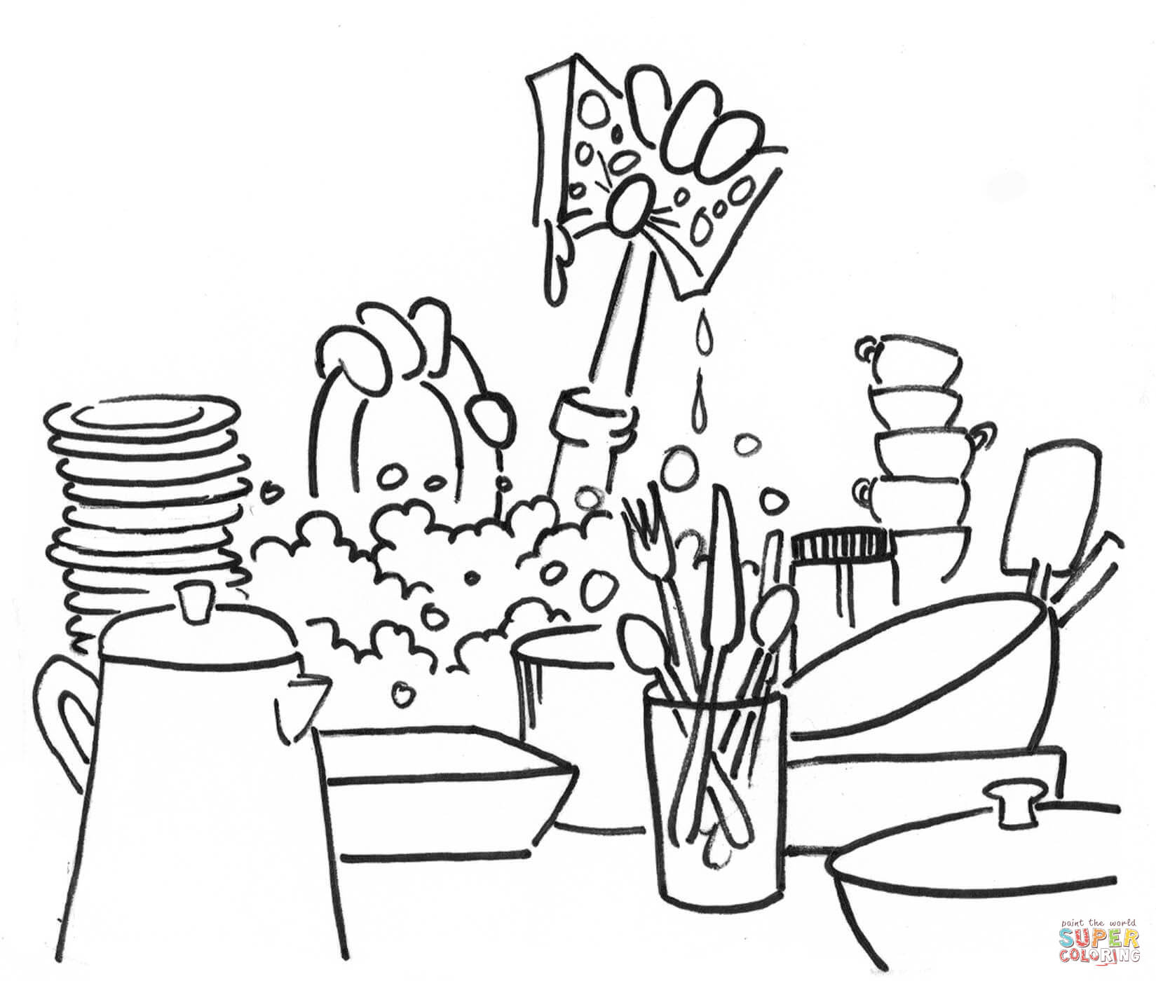 1649x1400 Washing Dishes Coloring Page Free Printable Coloring Pages