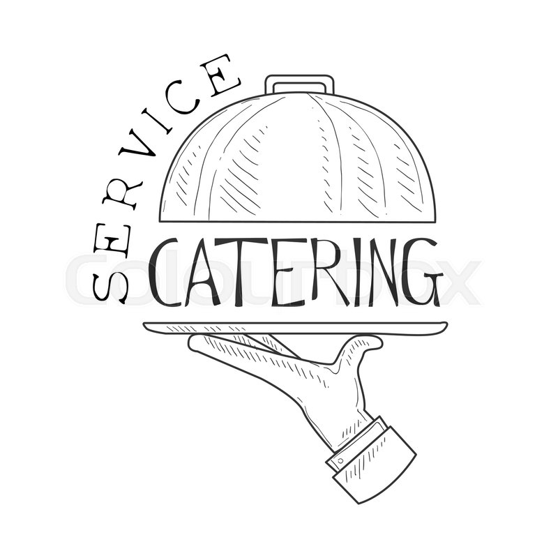 800x800 Best Catering Service Hand Drawn Black And White Sign With Waiters