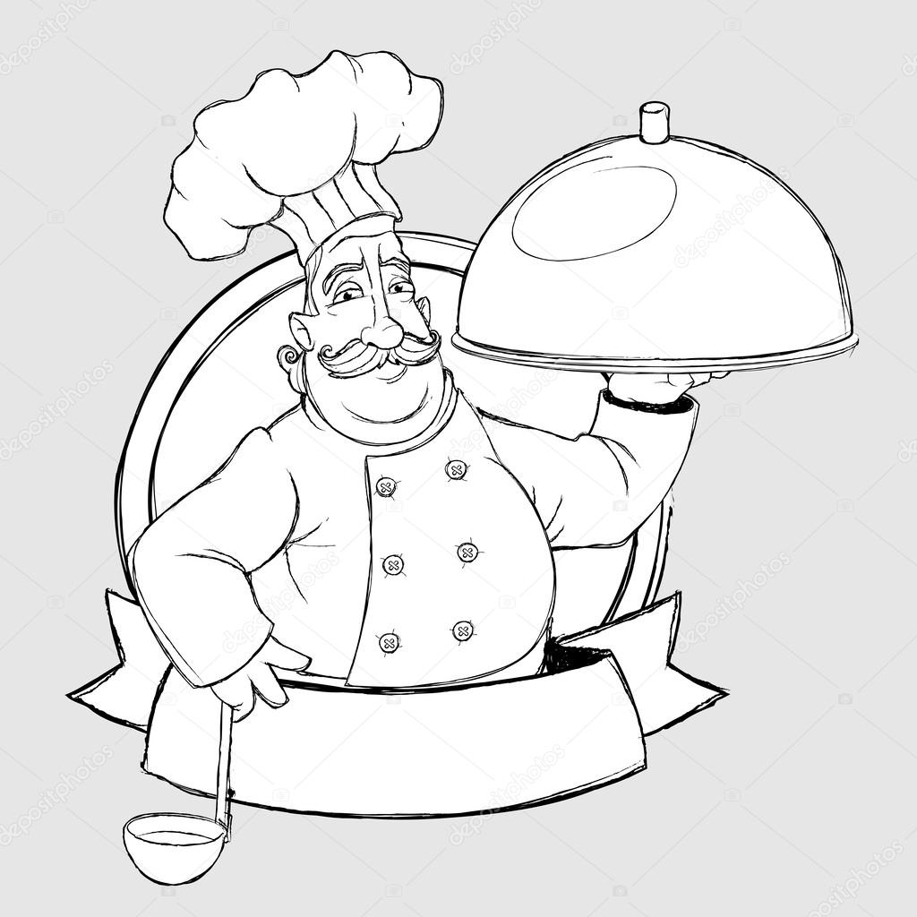 1024x1024 Chef With Dish In The Sign. Freehand Drawing Style Stock Vector
