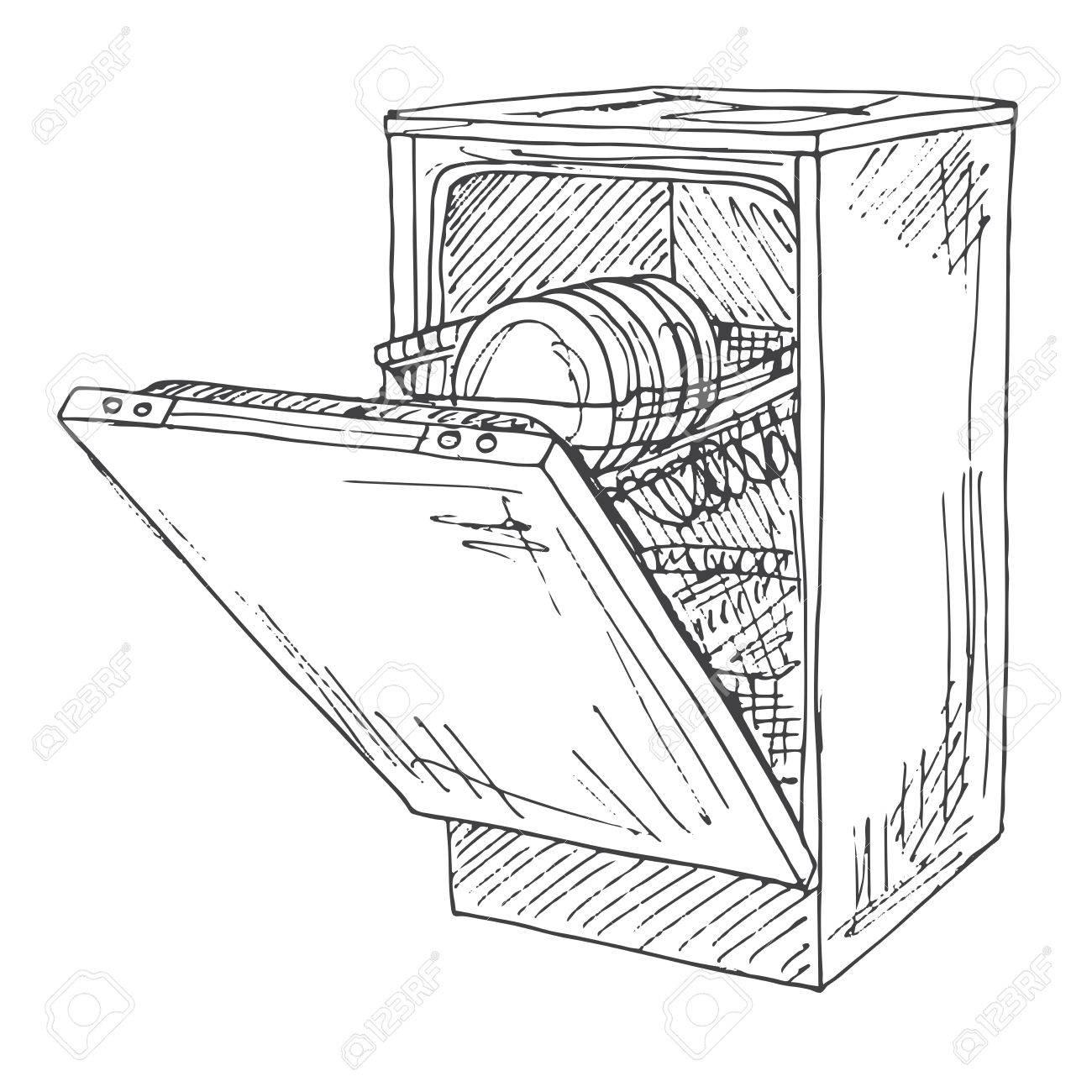 1300x1300 Dishwasher Isolated On White Background. Vector Illustration