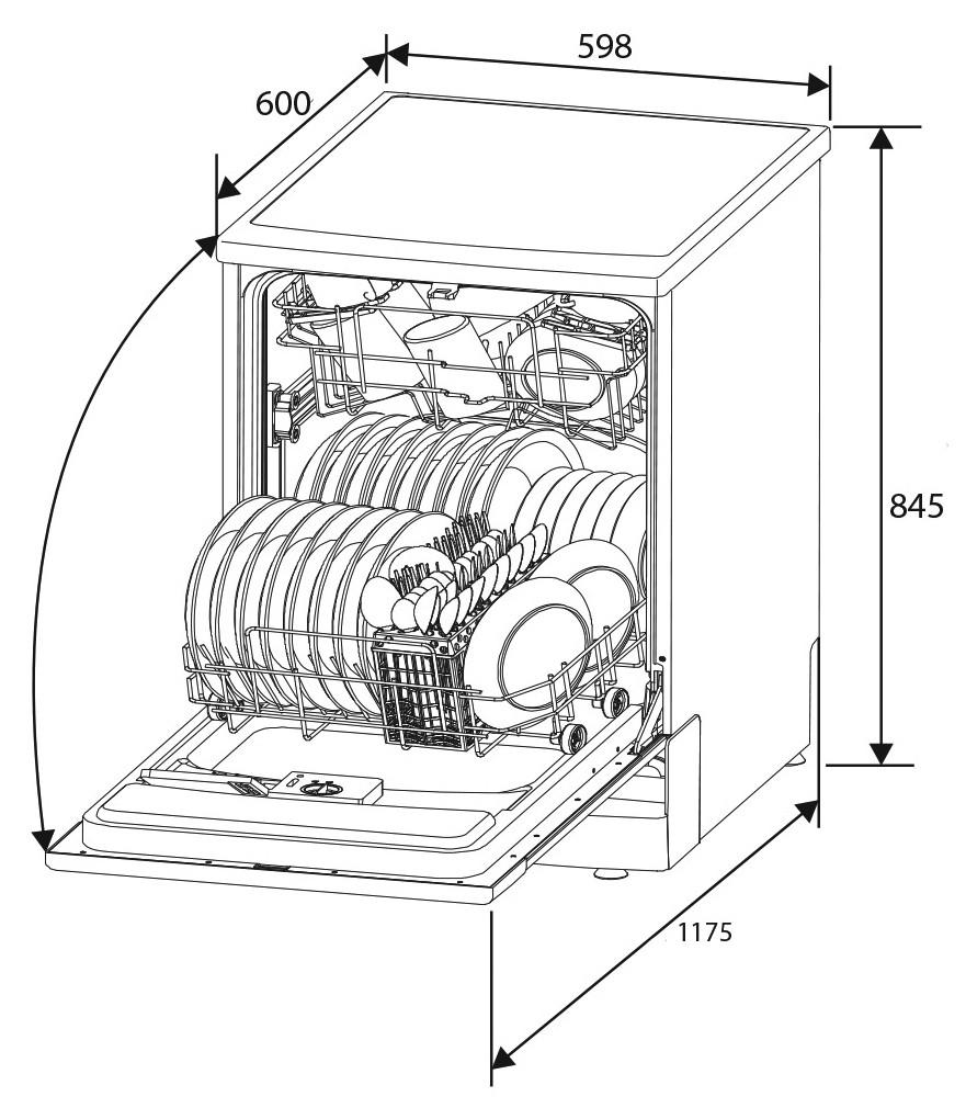 881x1010 Delonghi Silver 600mm Freestanding Dishwasher