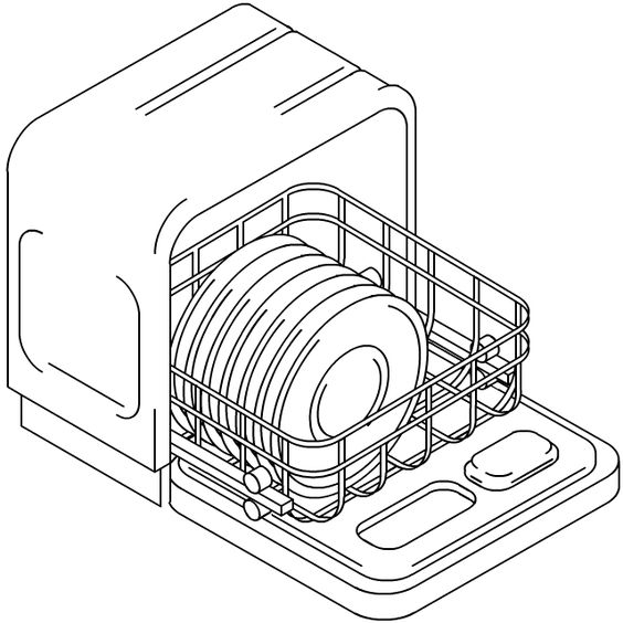 564x564 Dishwasher Drawing Drawing Dishes In Dishwasher Sketch Coloring