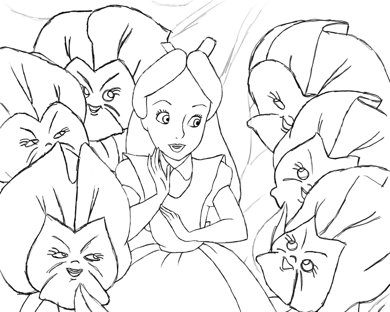 1250x1000 Alice In Wonderland Lineart By Naopanda