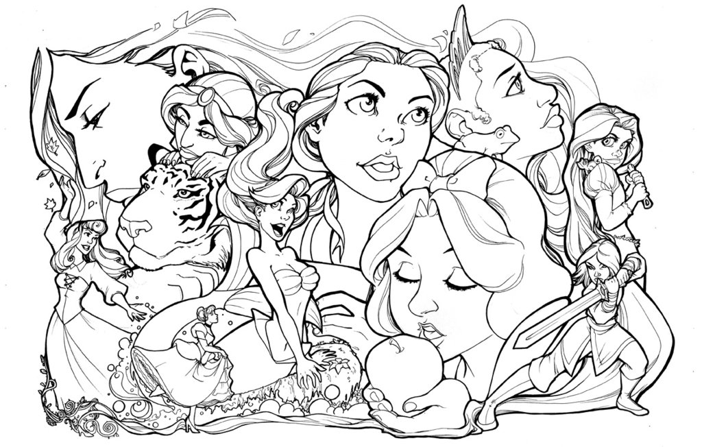 1024x652 Disney Princesses Lineart By Comfortlove