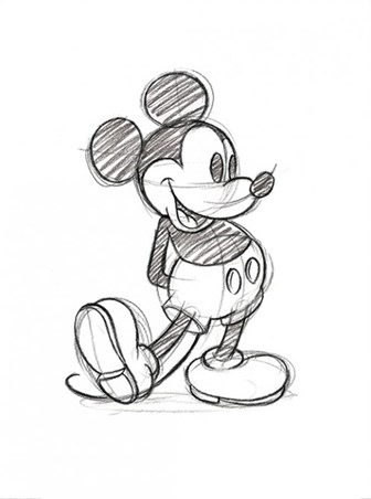 336x452 Mickey Mouse Sketch, Walt Disney Print