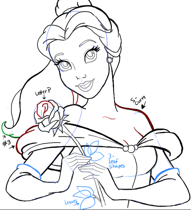 750x822 How To Draw Belle From Beauty And The Beast Step By Step Tutorial