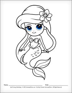 232x300 How To Draw Ariel The Little Mermaid Disney