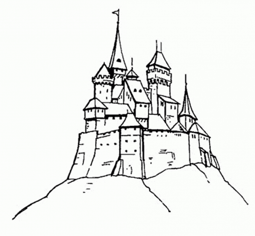 1024x949 Drawing Of A Castle Disney Castle Drawing Castle Coloring Page