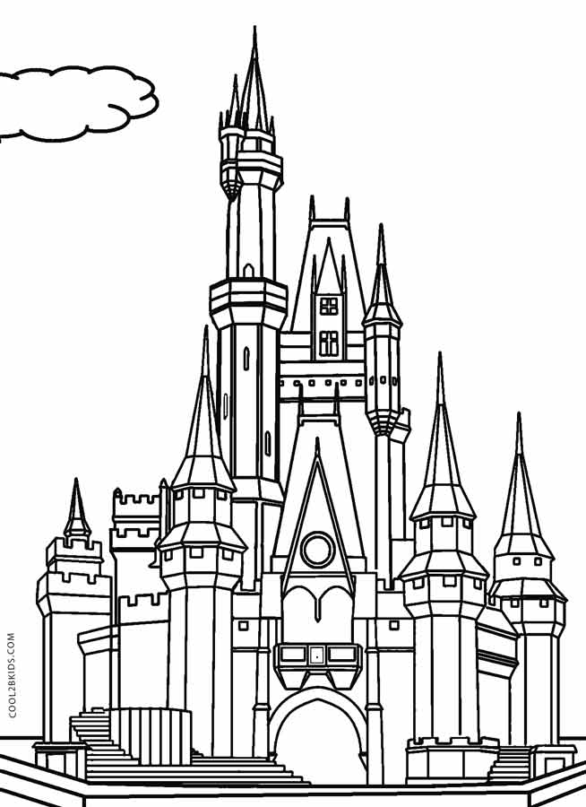 Disney castle drawing at free for for Disney castle coloring pages