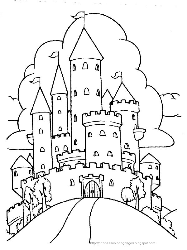 600x802 Castle Drawings To Color Medieval Castle Drawing
