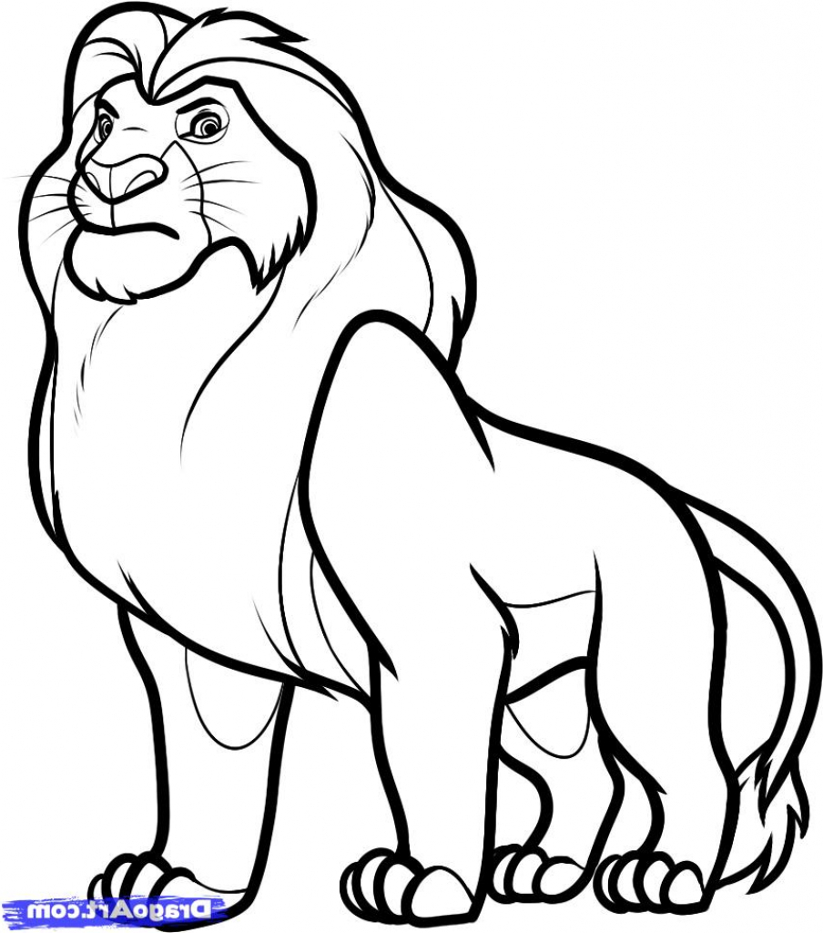 904x1024 Coloring Pages Easy Drawing Of A Lion How To Draw Mufasa