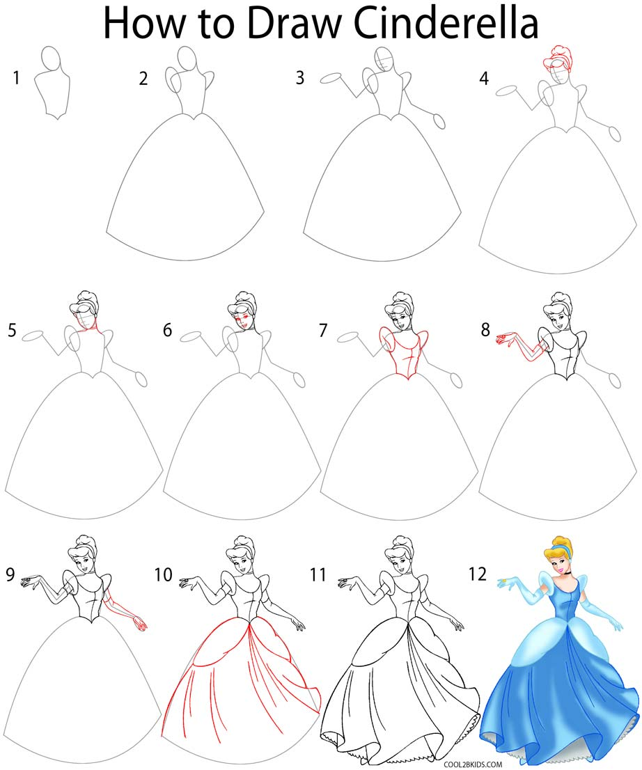 922x1106 How To Draw Cinderella (Step By Step Pictures) Cool2bkids