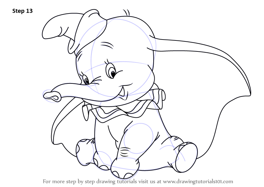 842x596 Learn How To Draw Dumbo Elephant From Dumbo (Dumbo) Step By Step