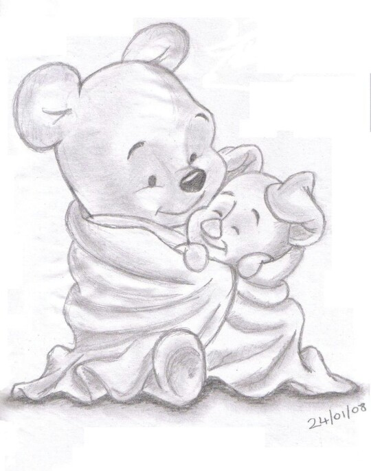540x686 Pooh And Pig Drawn Draw, Drawing Ideas And Sketches