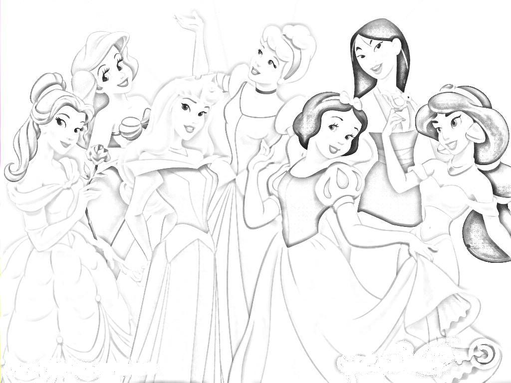 1024x768 Disney Princes Sketch Cartoon