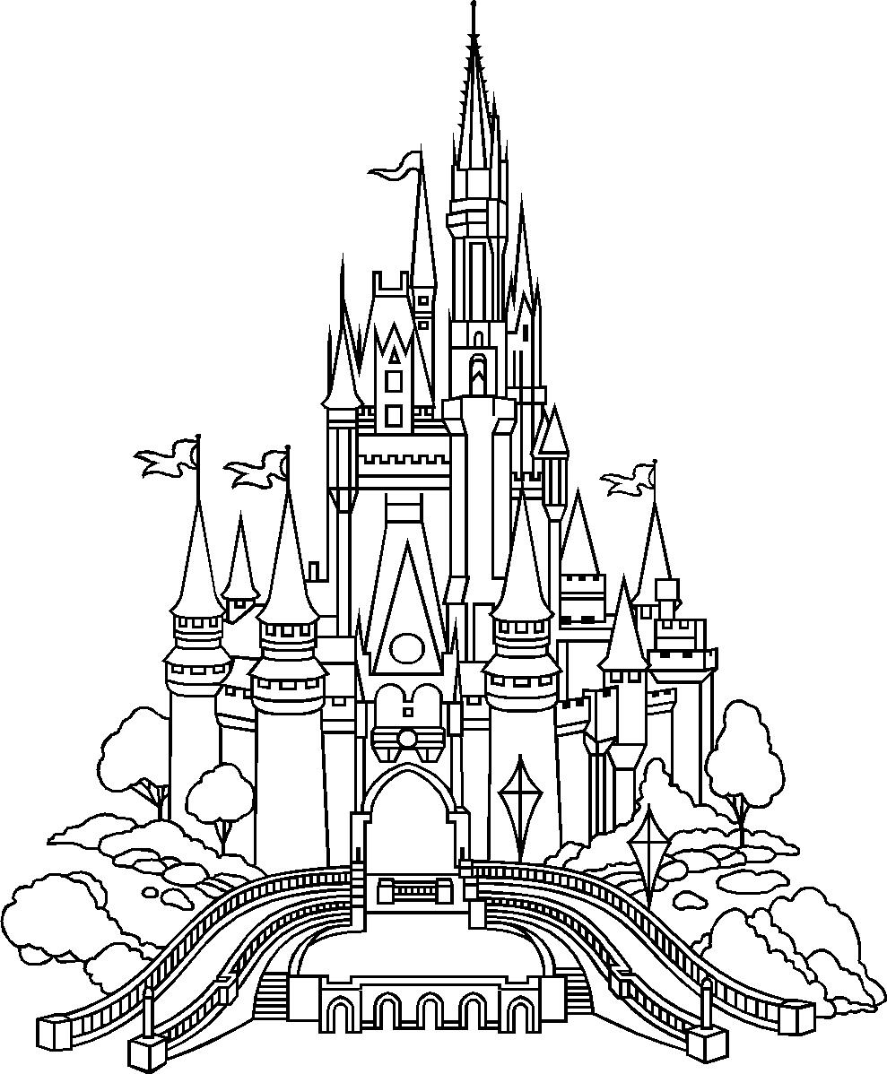 989x1198 Disney World Castle Drawing